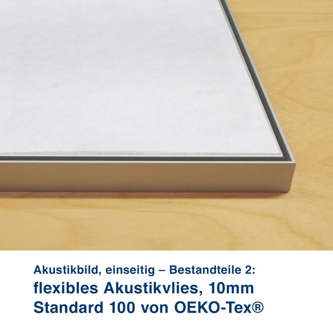 Akustikbild, einseitig – Bestandteile 2:  flexibles Akustikvlies, 10mm  Standard 100 von OEKO-Tex® feste Akustikplatte, 18mm
