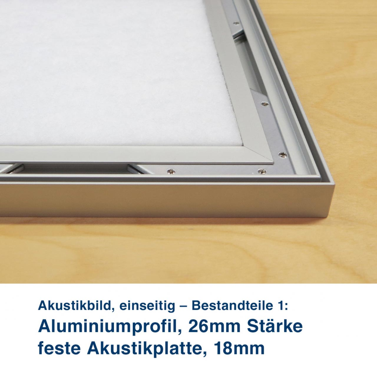 Akustikbild, einseitig – Bestandteile 3:  Schalldurchlässiger E+P Akustik Stoff und mit angenähtem Flachkeder. feste Akustikplatte, 18mm