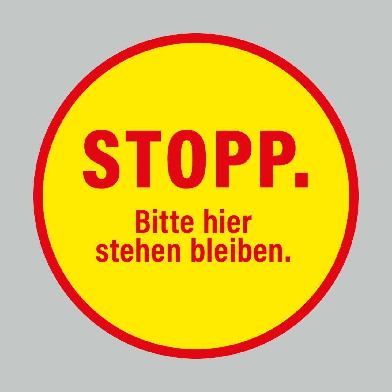 Fußbodenaufkleber, rot-gelb, rund 48cm – Stopp