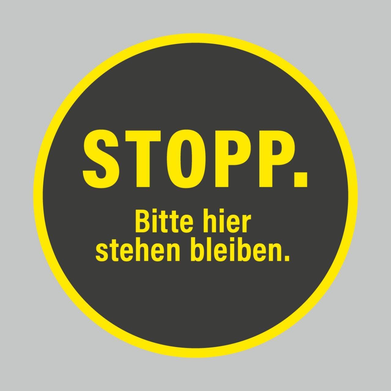 Fußbodenaufkleber, gelb-schwarz, rund 48cm – Stopp