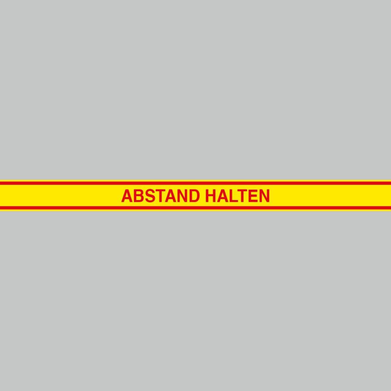 Fußbodenaufkleber rot-gelb, 120x9,6cm – Abstand halten