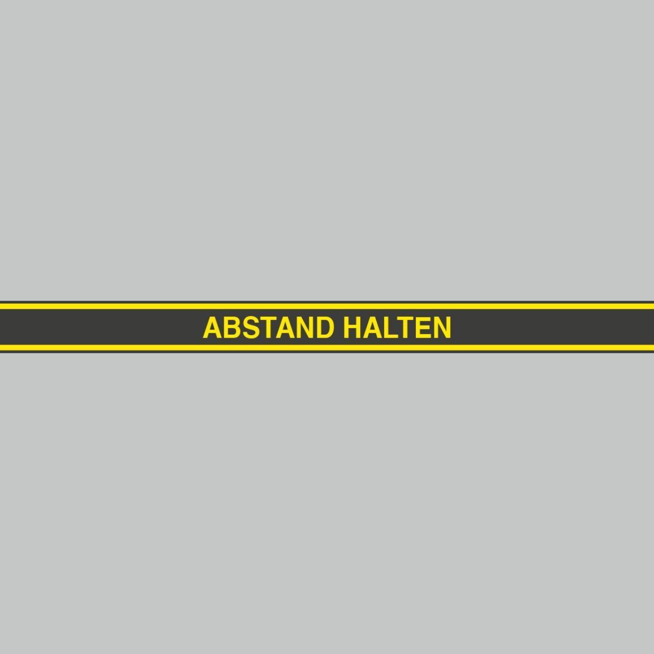Fußbodenaufkleber gelb-schwarz, Streifen, 120x9,6cm – Abstand halten