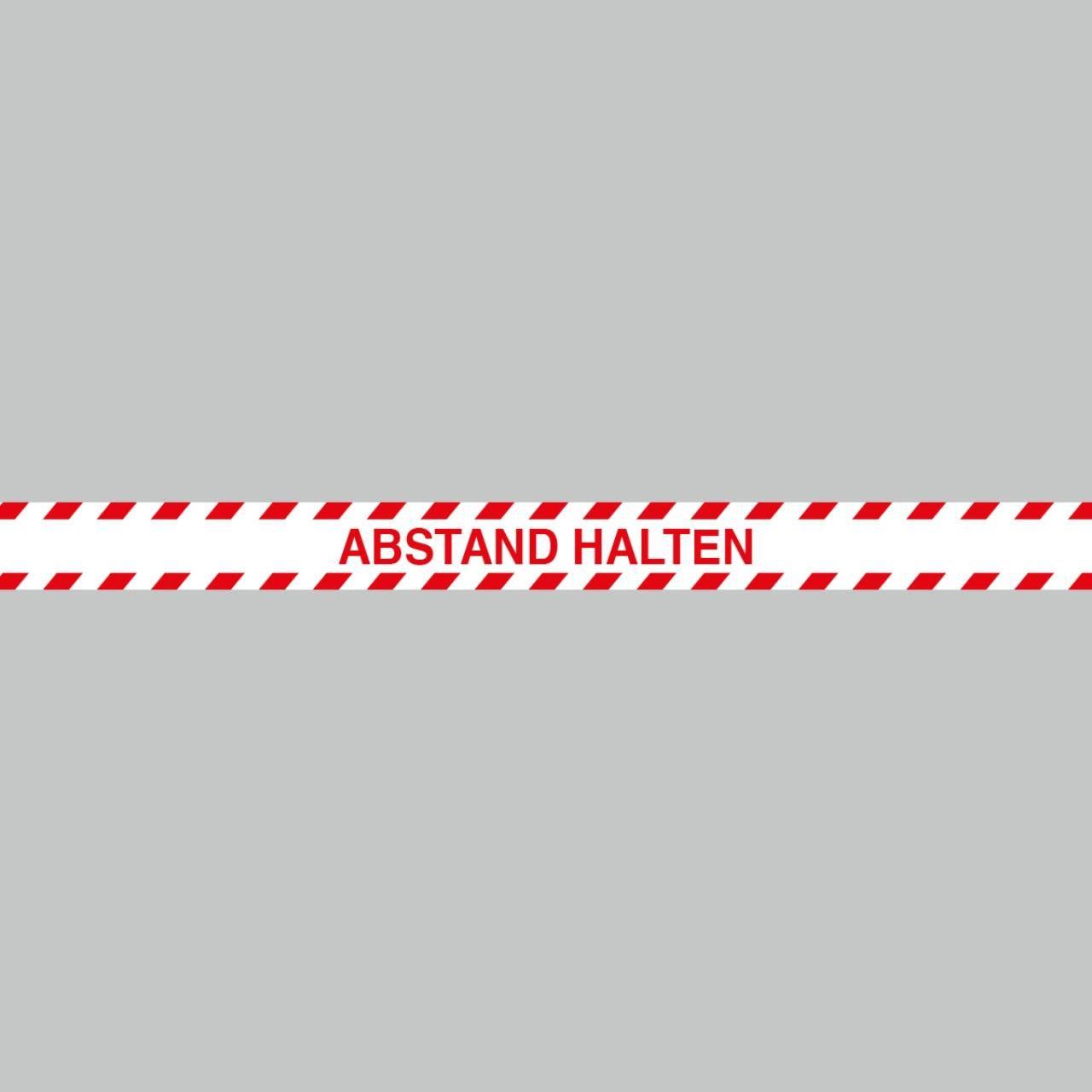 Fußbodenaufkleber rot-weiß, Streifen, 120x9,6cm – Abstand halten
