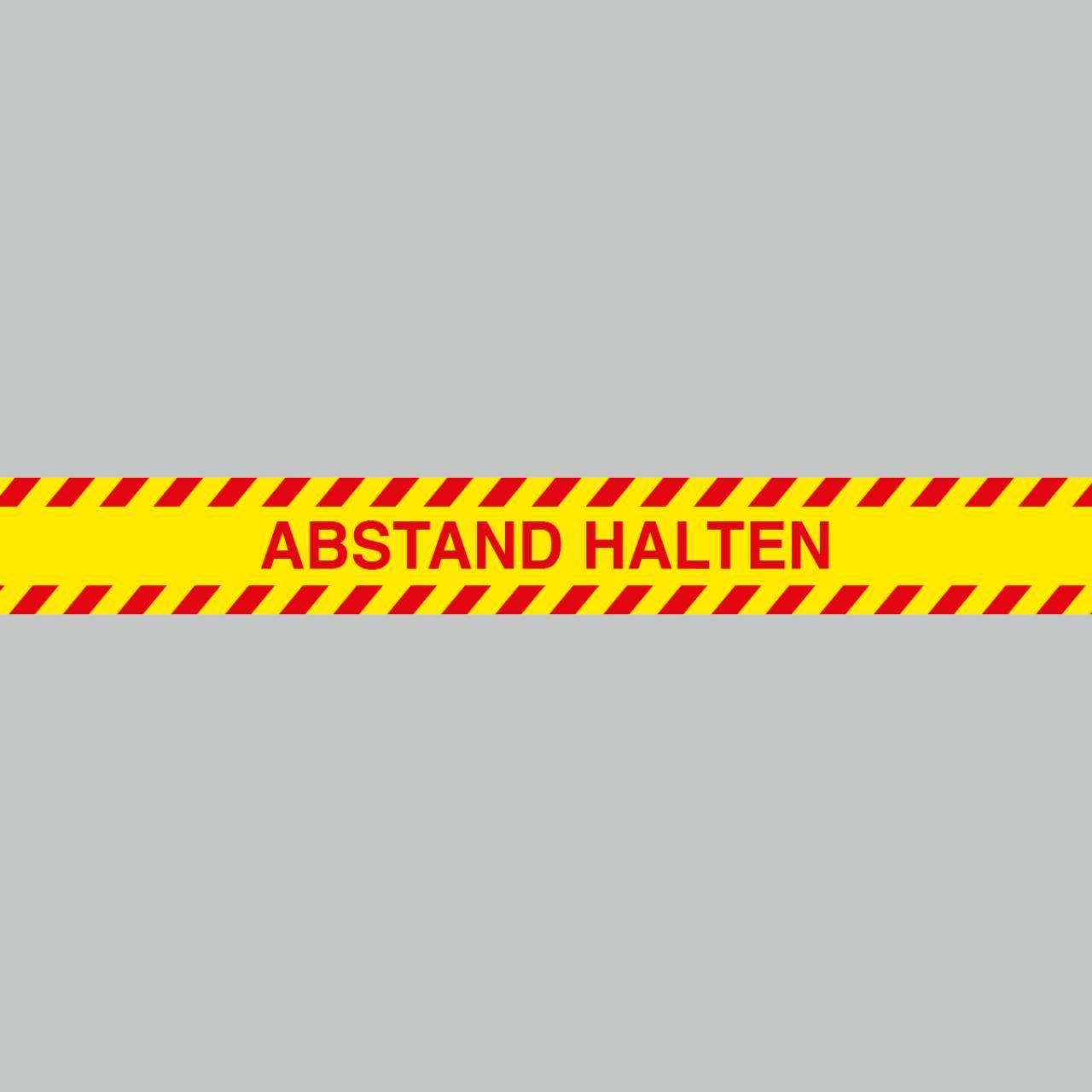 Fußbodenaufkleber rot-gelb, Streifen, 120x15cm – Abstand halten