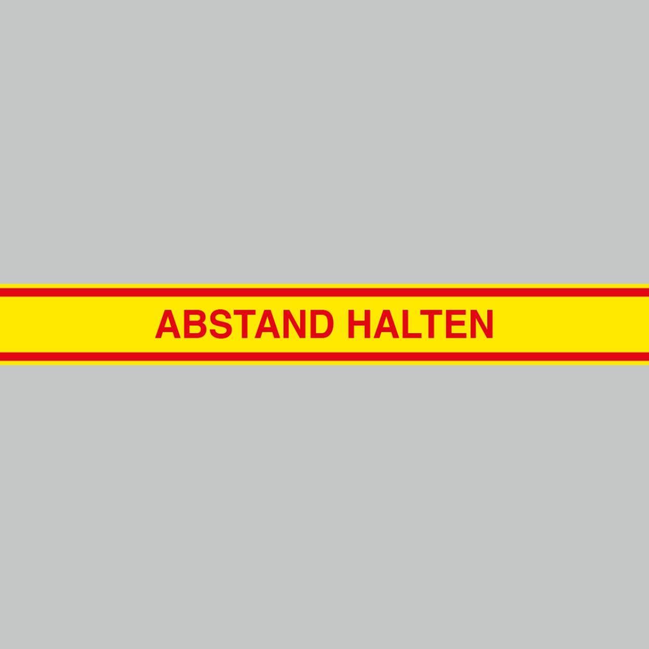 Fußbodenaufkleber rot-gelb, 120x15cm – Abstand halten
