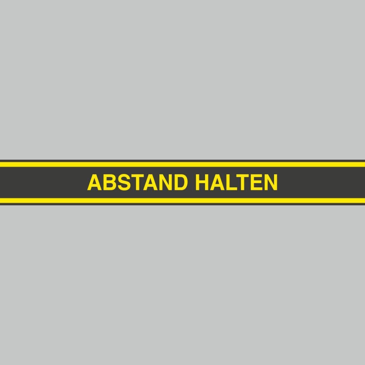 Fußbodenaufkleber, gelb-schwarz, 120x15cm – Abstand halten