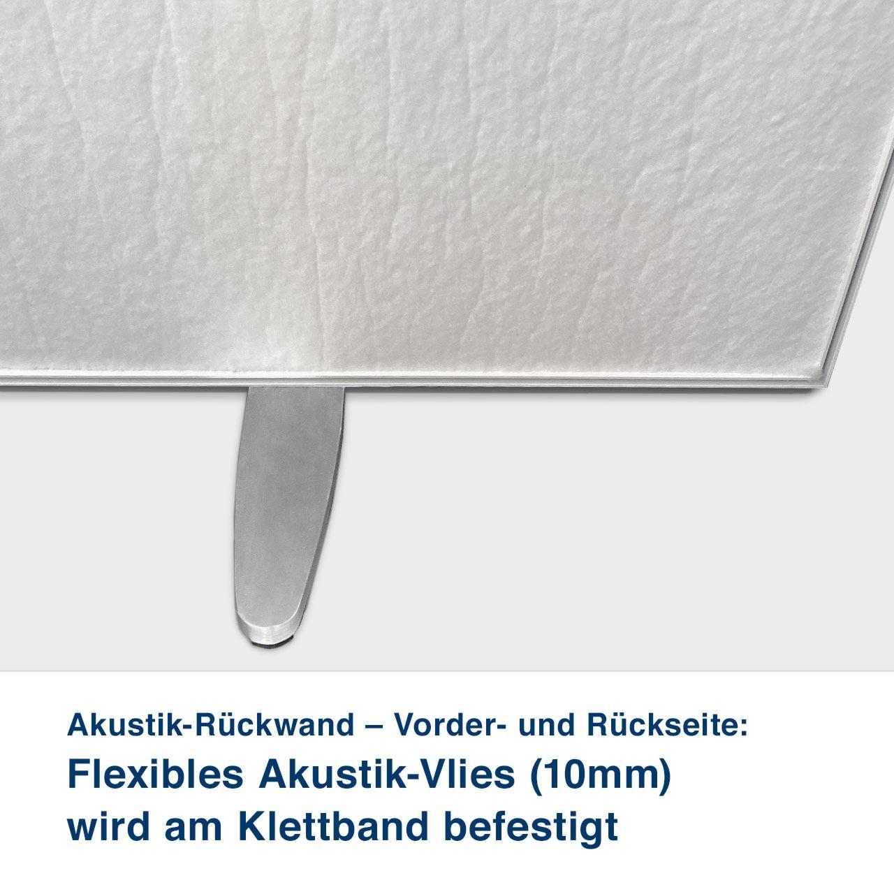 Akustik-Rückwand – Akustikvlies::   Feste Akustikplatte (18mm) wird  am Klettband befestigt – Vorderseite