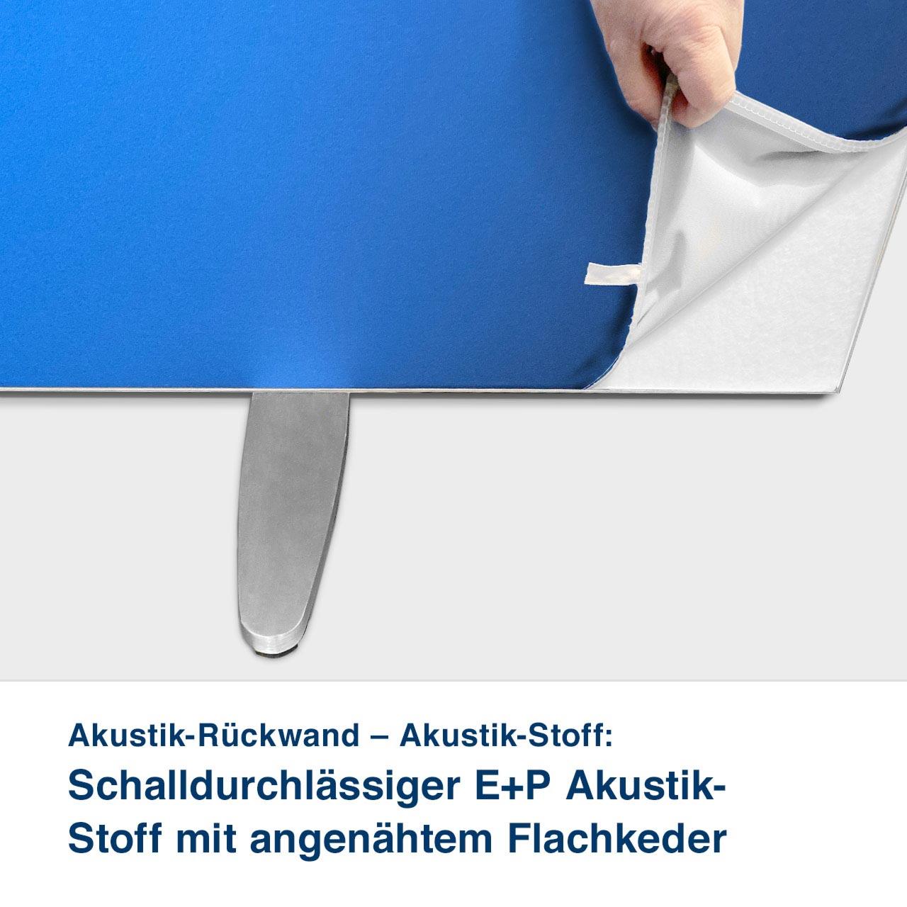 Akustik-Rückwand – Akustik-Stoff:   Schalldurchlässiger E+P Akustik-  Stoff mit angenähtem Flachkeder
