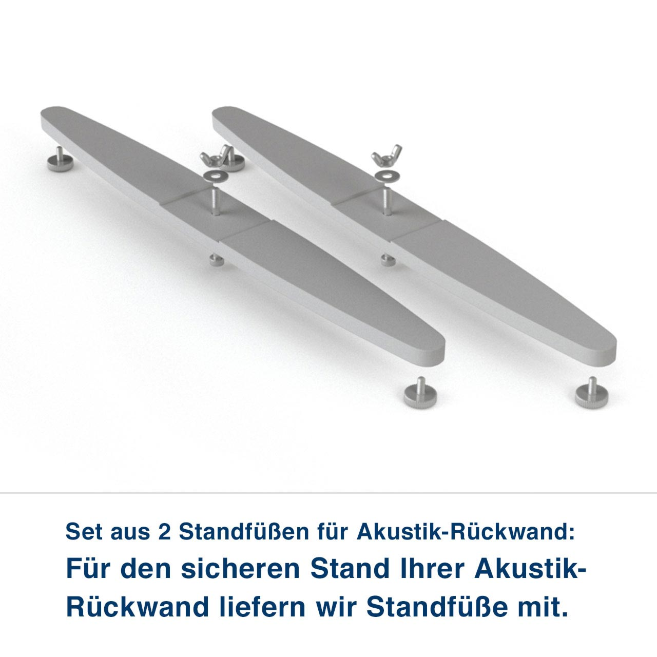Set aus 2 Standfüßen für Akustik-Rückwand:   Für den sicheren Stand Ihrer Akustik- Rückwand liefern wir Standfüße mit. für