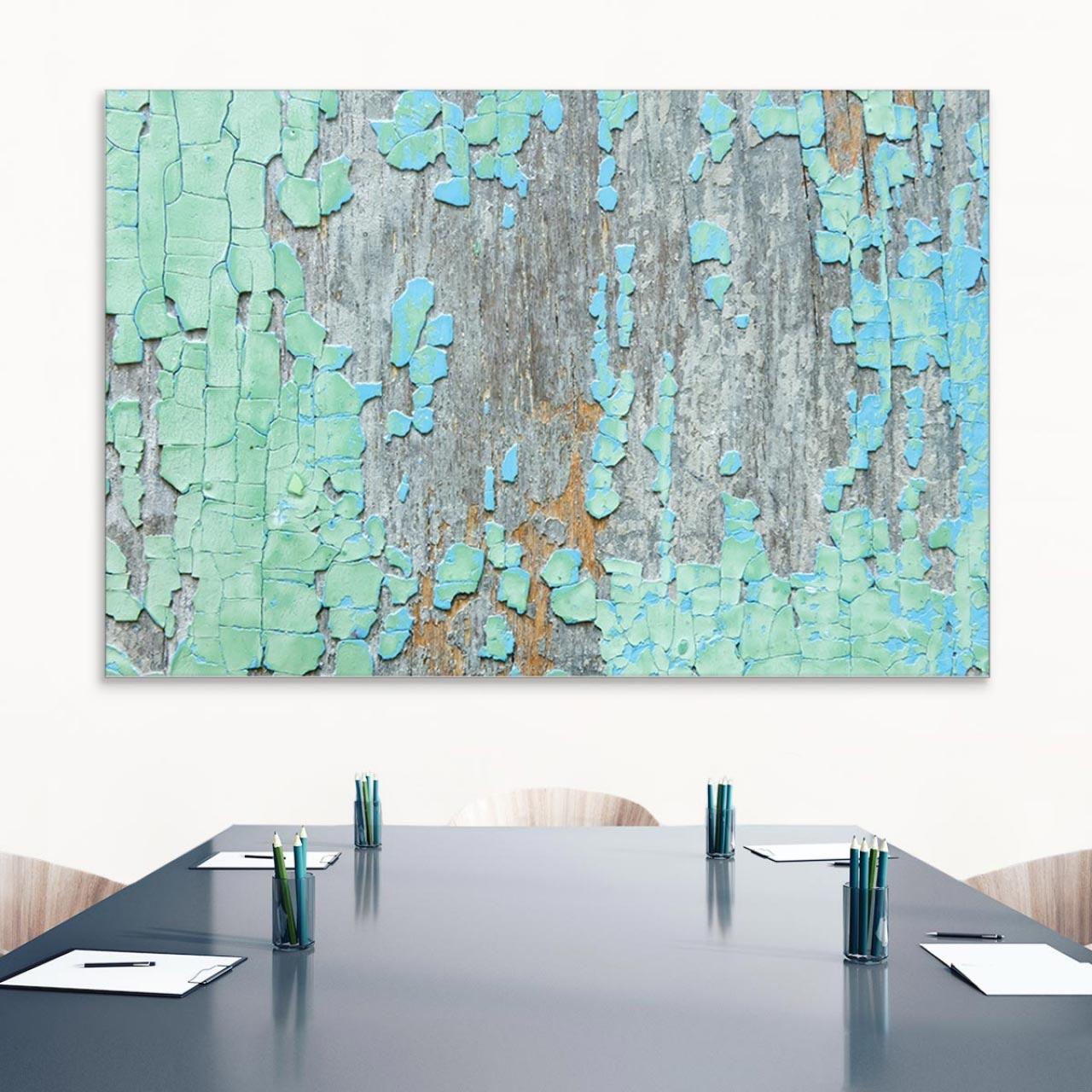 Akustikbild Abstrakte Farbe auf Holz, einseitig, Wandmontage