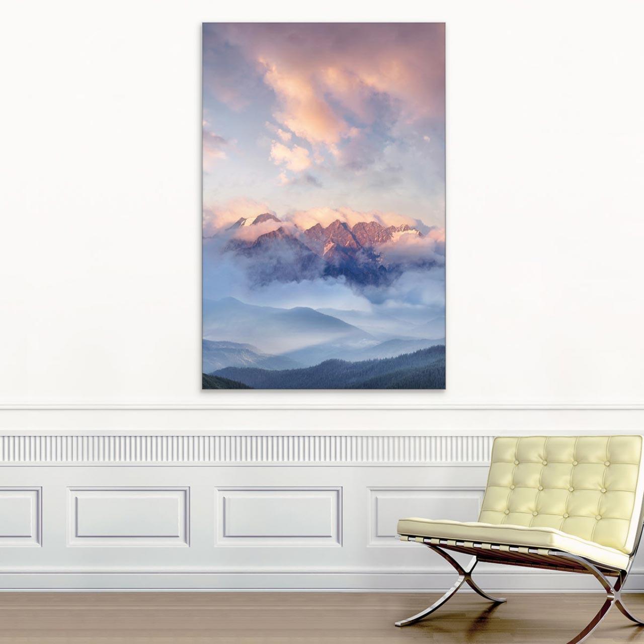 Akustikbild Hohe Berge im Abendlicht
