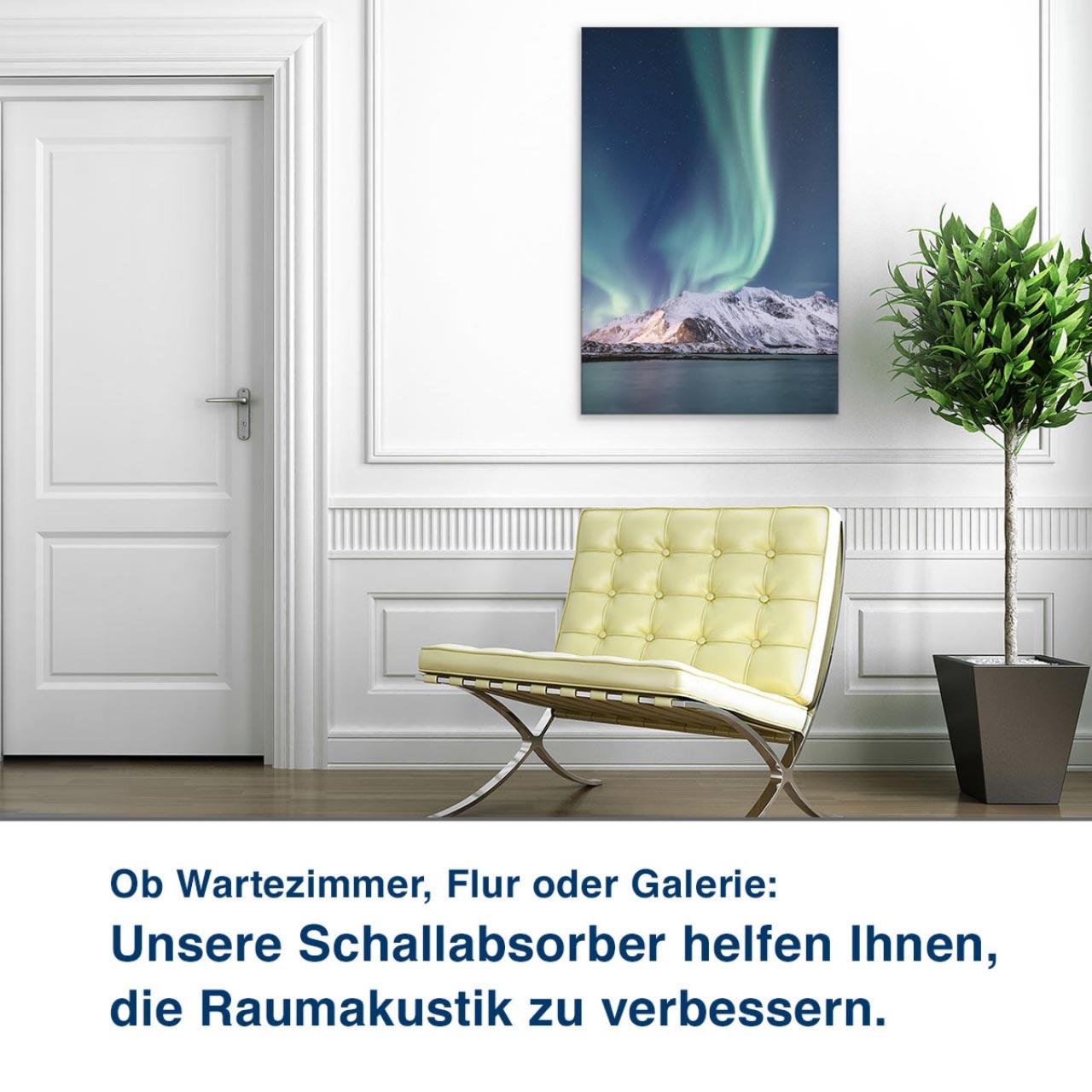 Ob Wartezimmer, Flur oder Galerie:  Unsere Schallabsorber helfen Ihnen,  die Raumakustik zu verbessern.