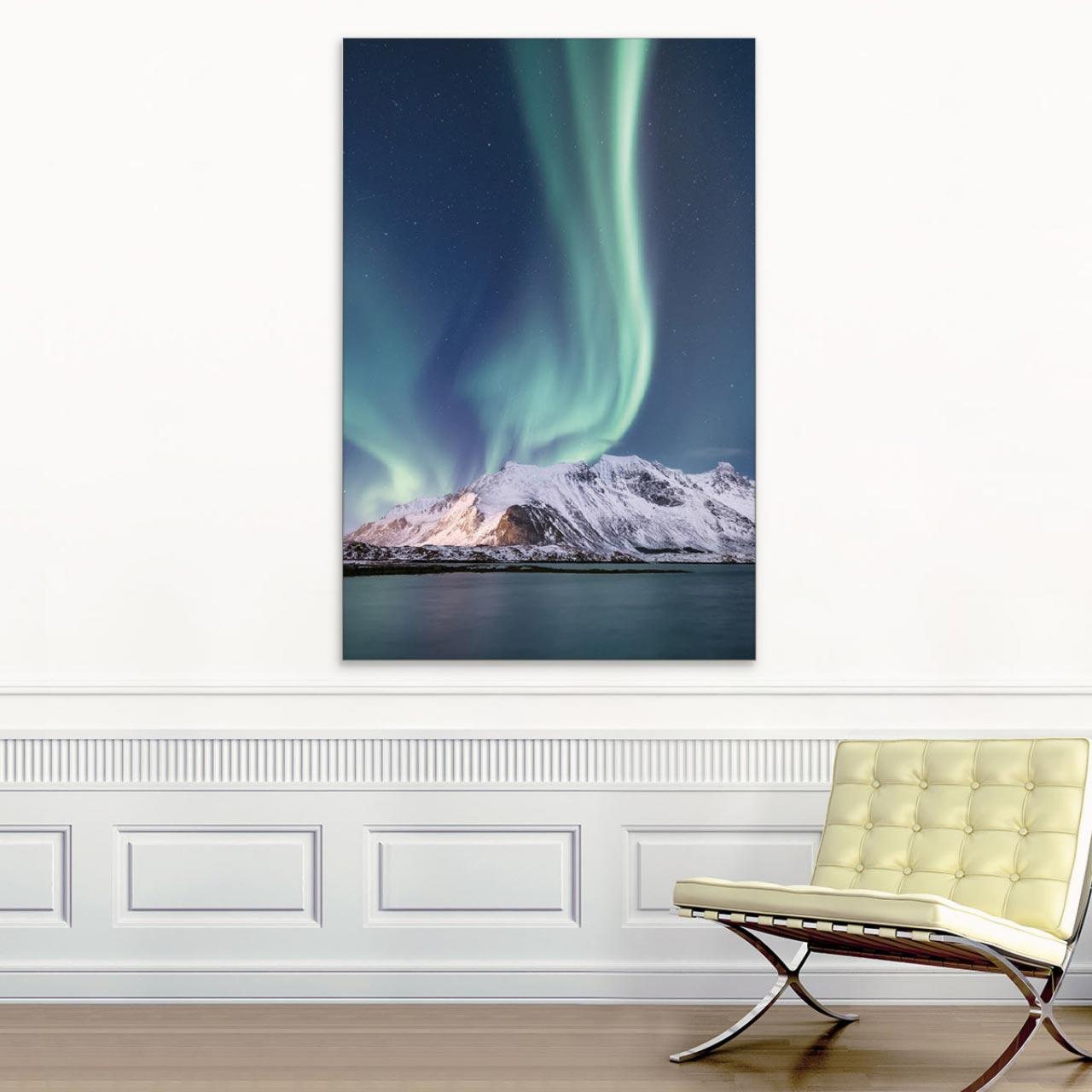 Akustikbild Polarlichter über den Bergen, Norwegen