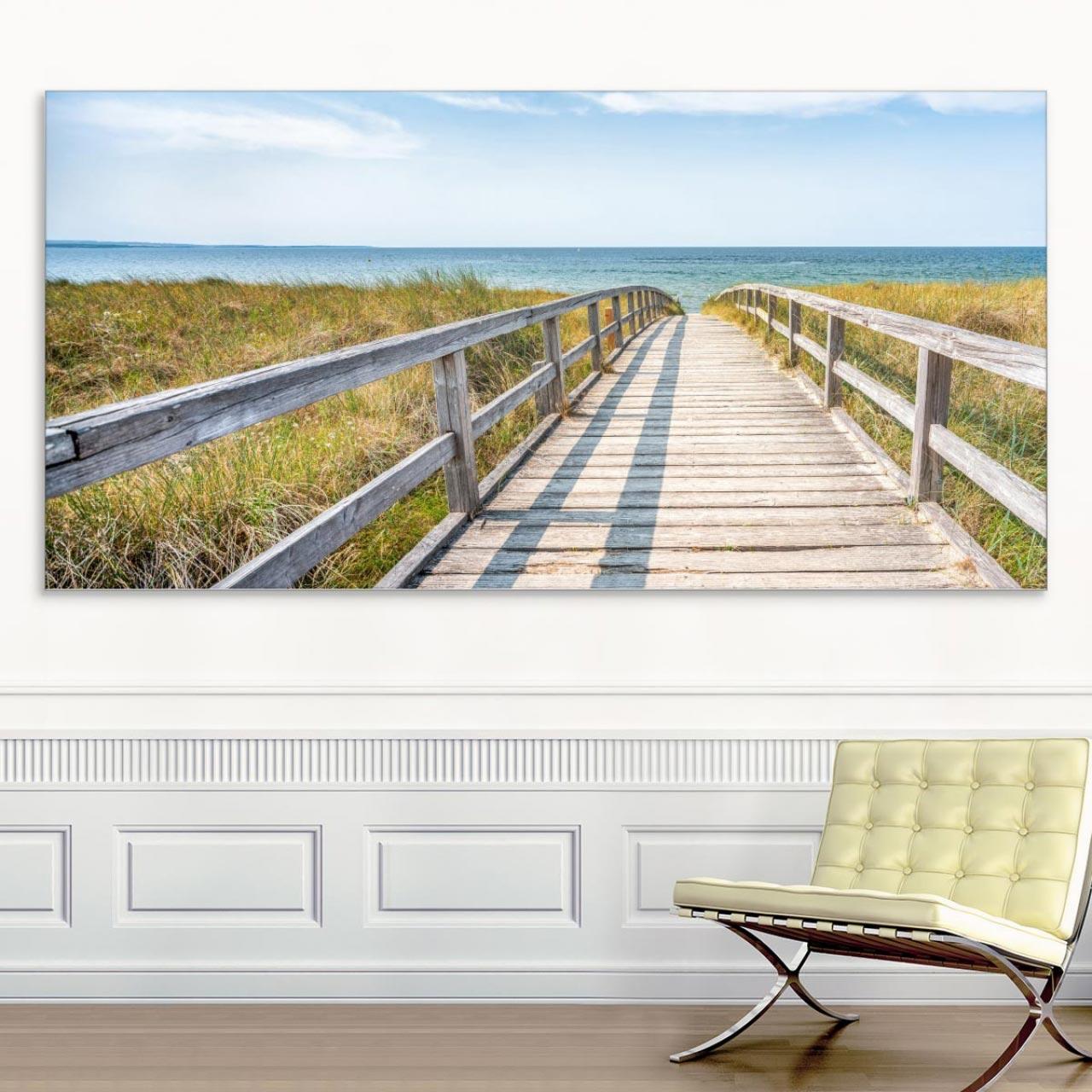 Akustikbild Strand mit Dünenübergang Lounge, einseitig, Wandmontage