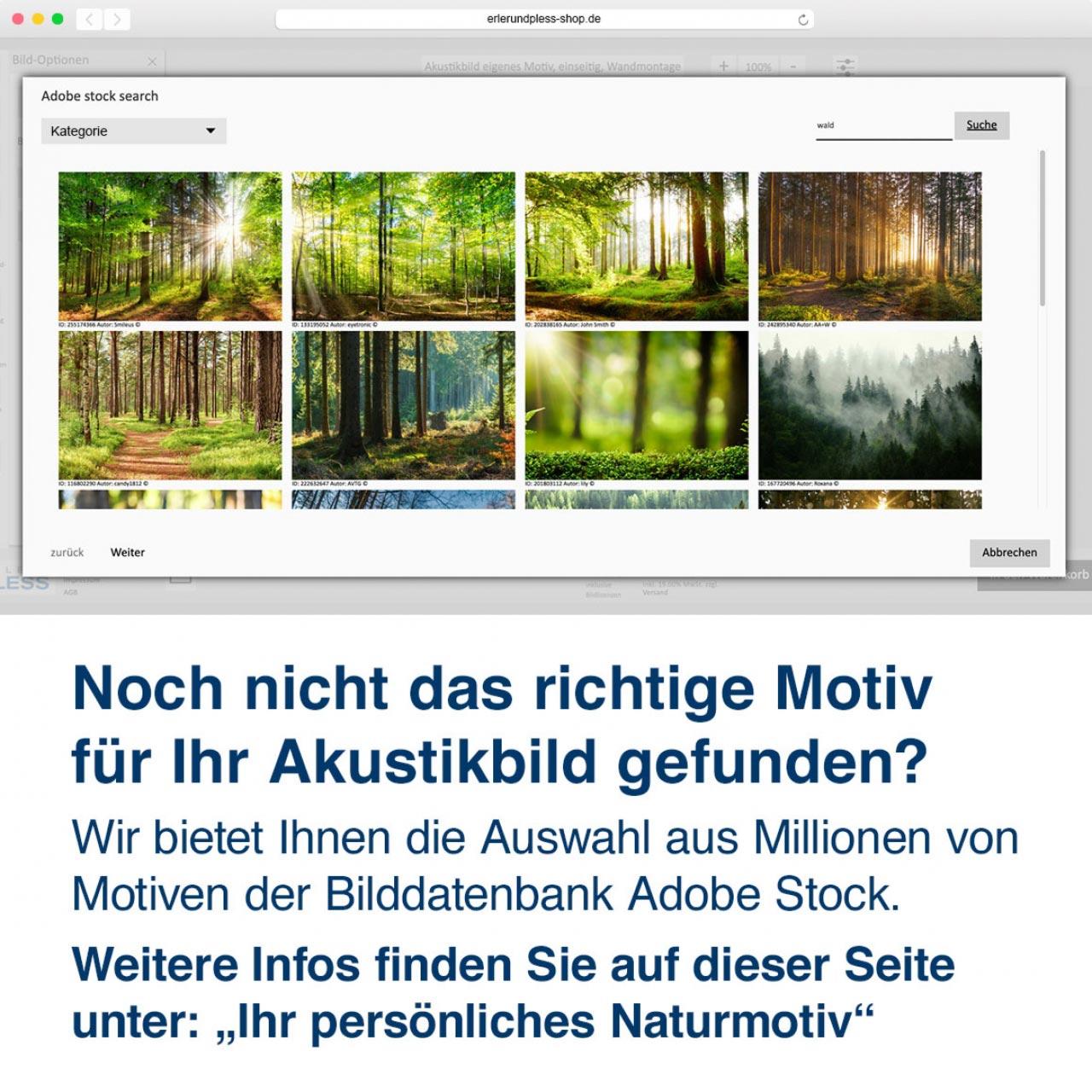 Noch nicht das richtige Motiv  für Ihr Akustikbild gefunden? Wir bietet Ihnen die Auswahl aus Millionen von Motiven der Bilddatenbank Adobe Stock.