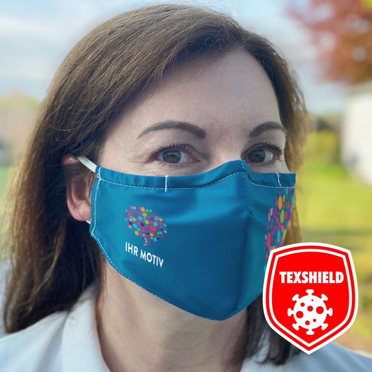 """Mund-Nasen-Maske """"MyDesign"""" mit Ihrem Aufdruck mit antiviraler Beschichtung"""