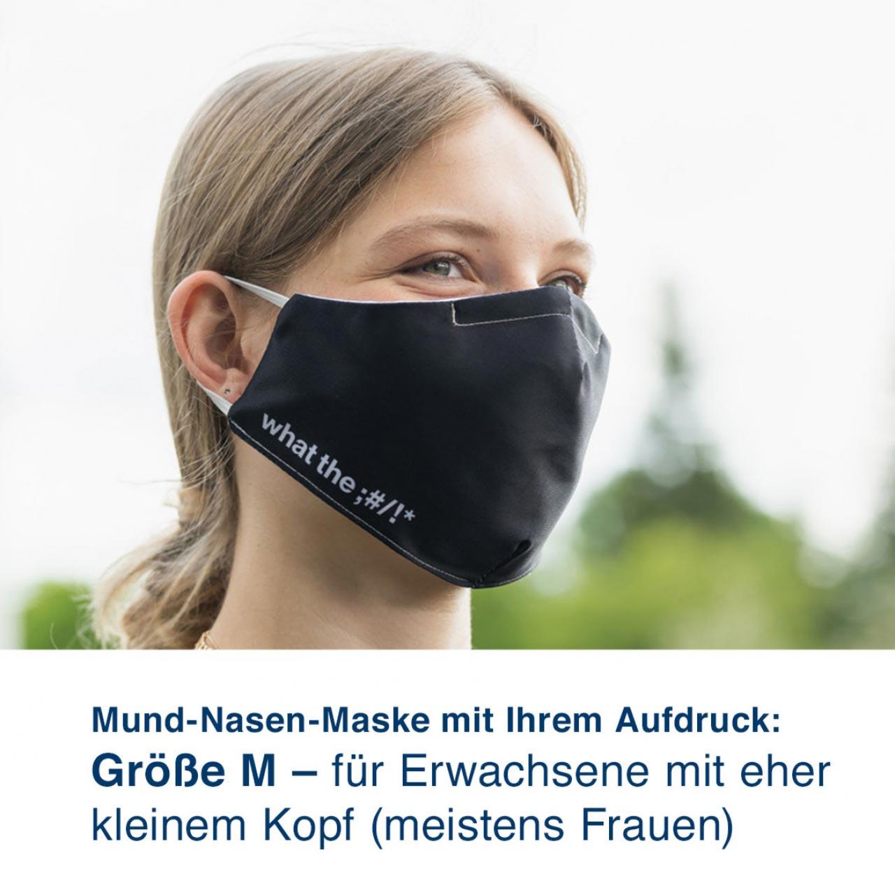 Mund-Nasen-Maske mit Ihrem Motiv – Größe M