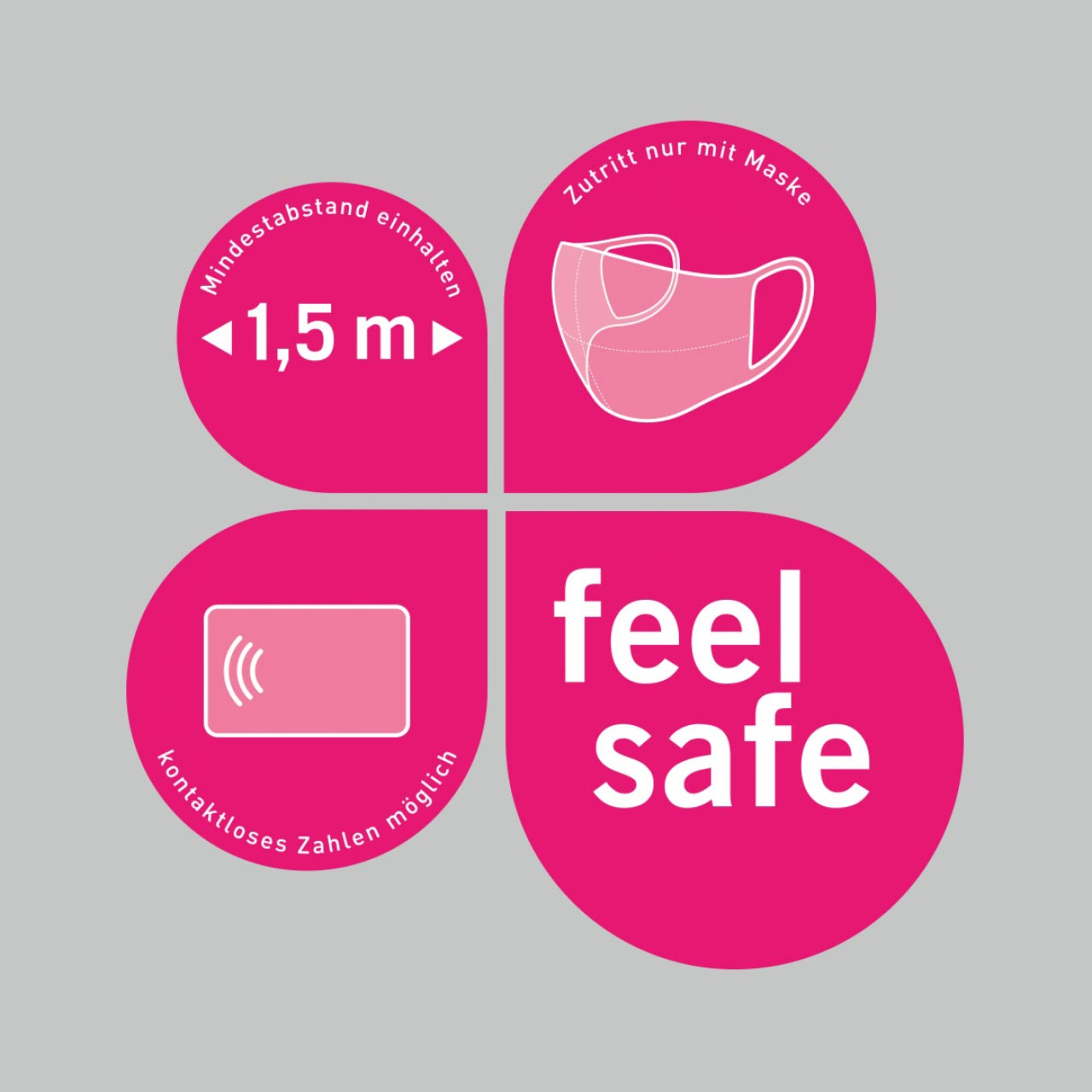 Vierteiliger Schaufensteraufkleber 25x25,4cm, magenta – Verhaltensregeln »feel safe«
