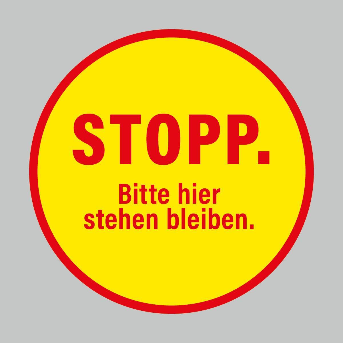 Fußbodenaufkleber, rot-gelb, Ø 48cm – Stopp
