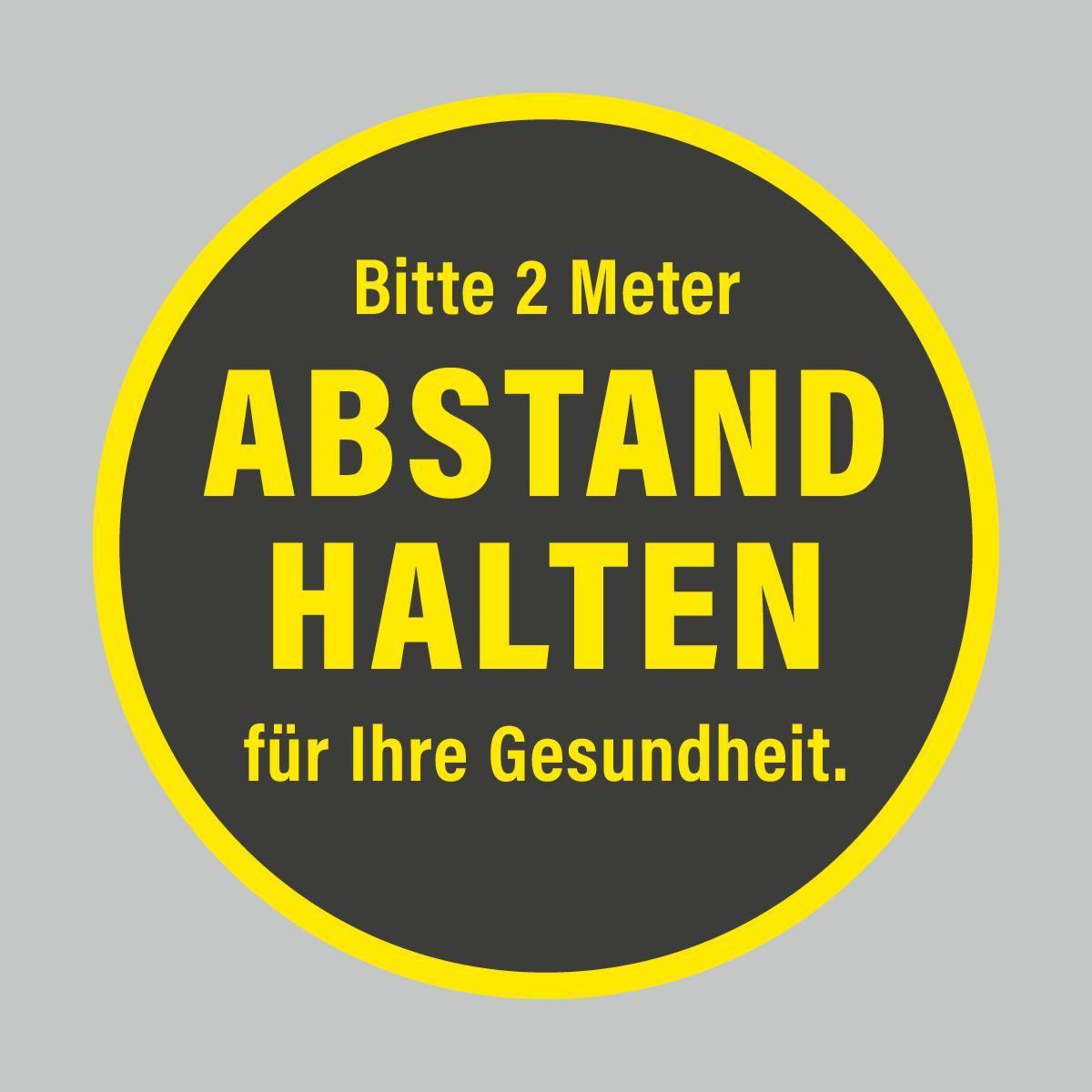 Fußbodenaufkleber, gelb-schwarz, Ø 48cm – 2 Meter Abstand halten