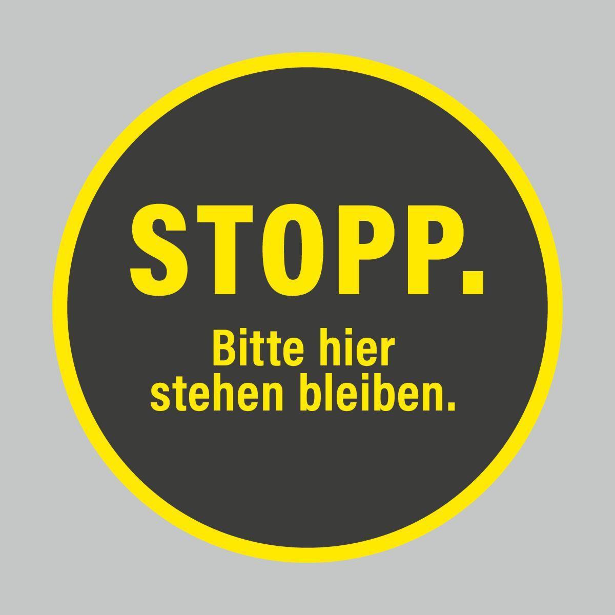 Fußbodenaufkleber, gelb-schwarz, Ø 48cm – Stopp