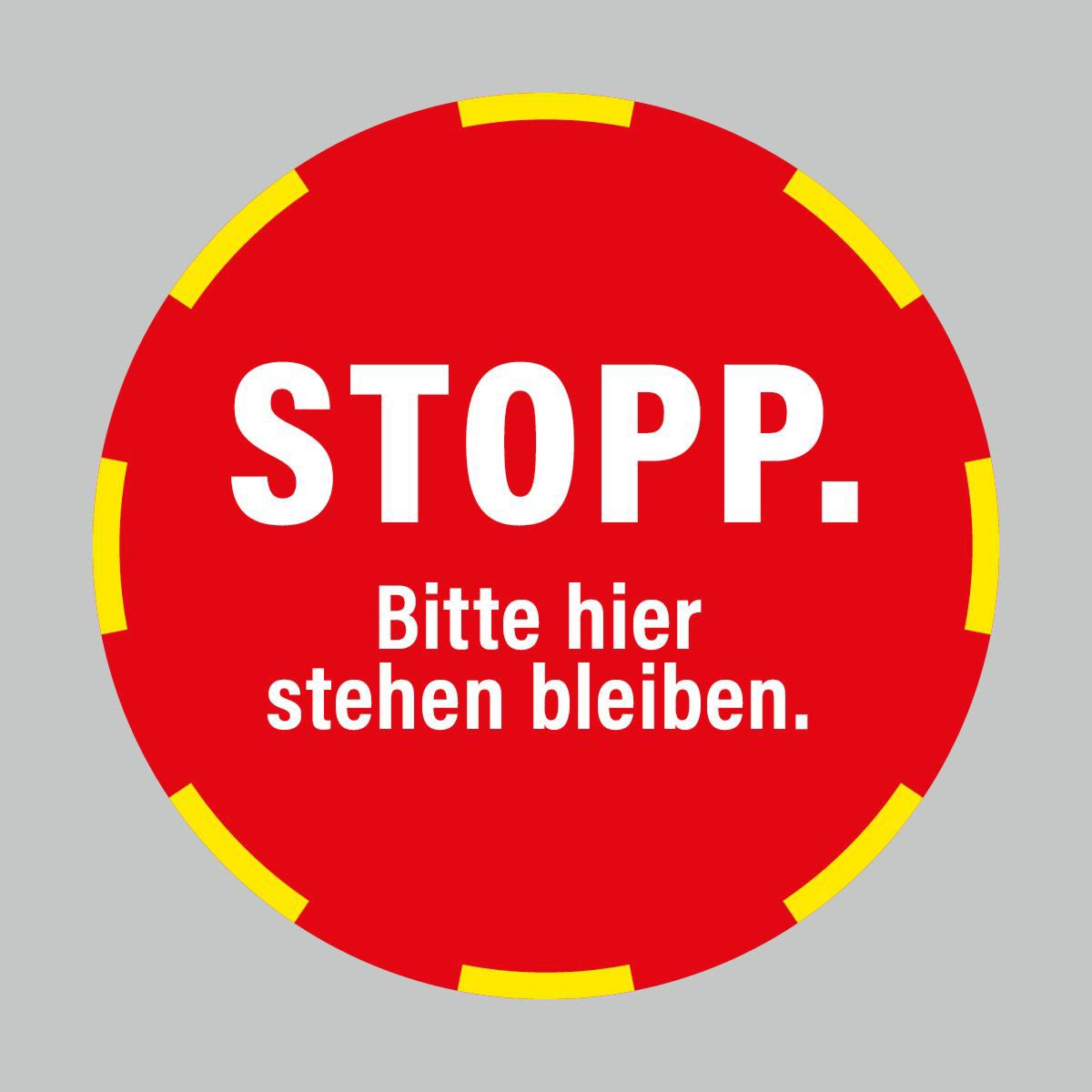 Fußbodenaufkleber, weiß-rot, Ø 48cm – Stopp