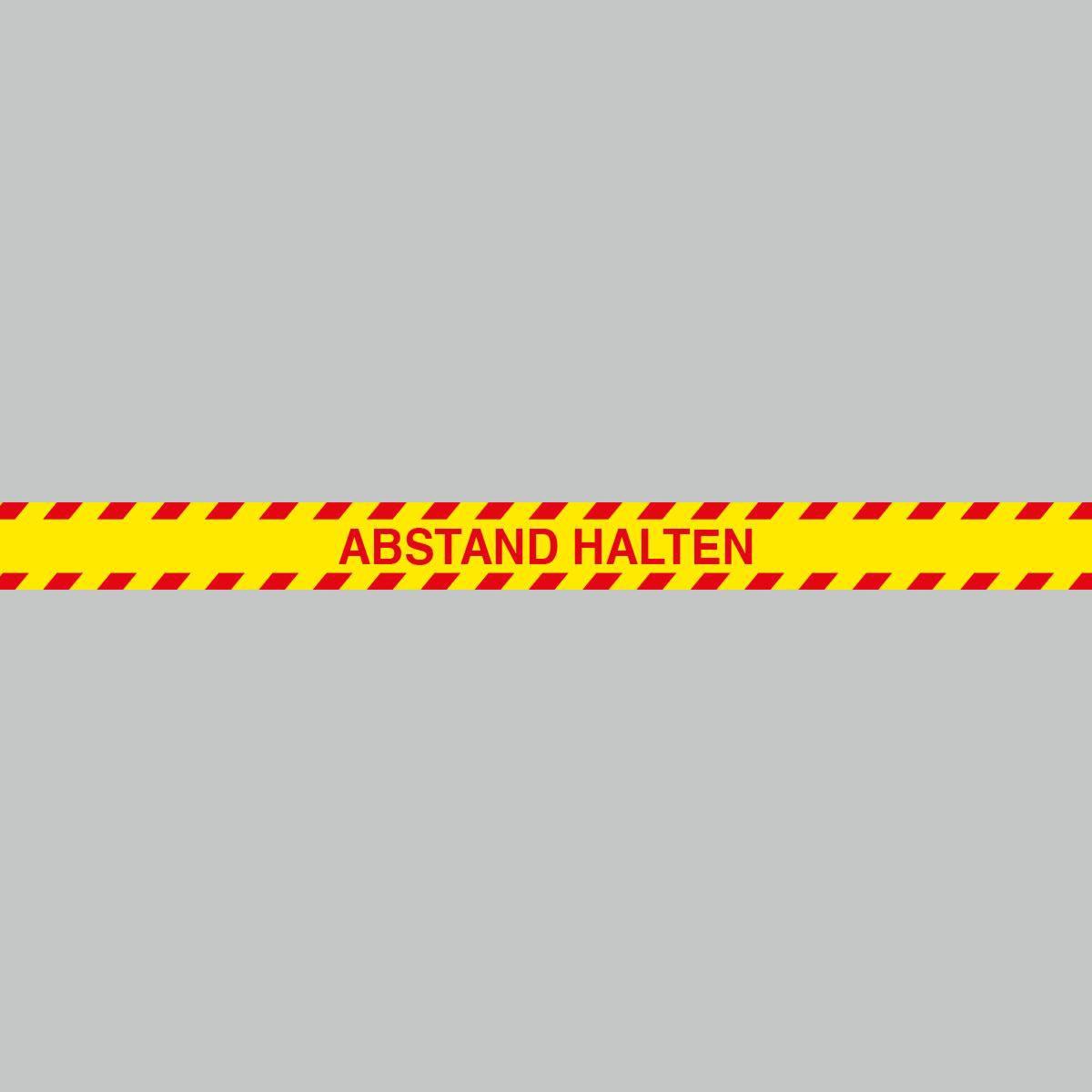 Fußbodenaufkleber rot-gelb, rechteckig 120x9,6cm – Abstand halten