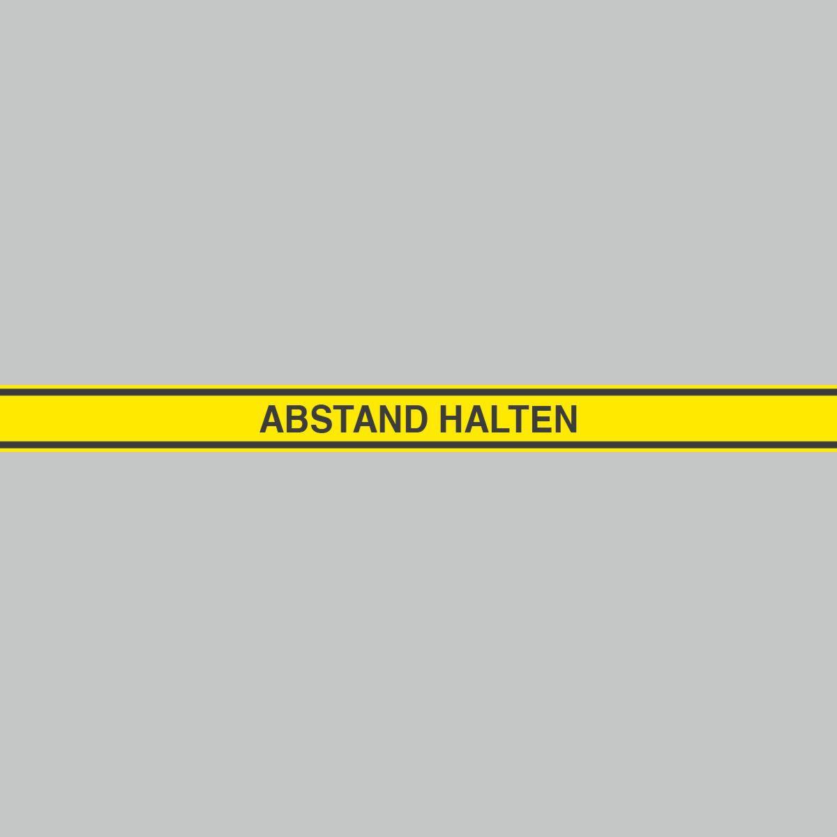 Fußbodenaufkleber schwarz-gelb, 120x9,6cm – Abstand halten