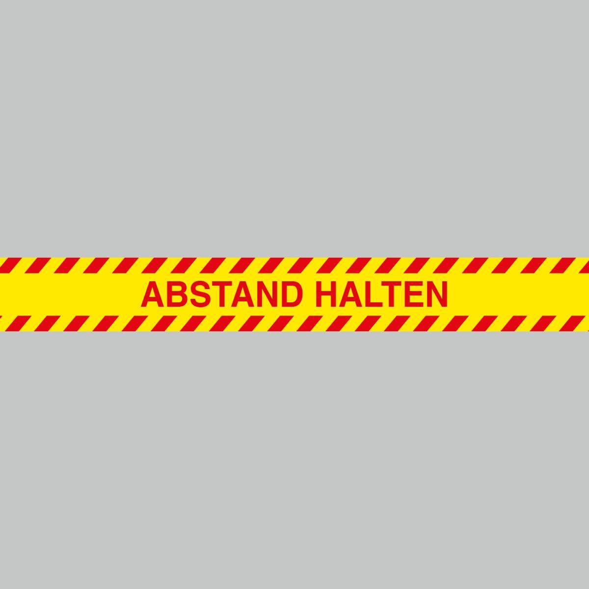 Fußbodenaufkleber, rot-gelb, Streifen, 120x15cm – Abstand halten