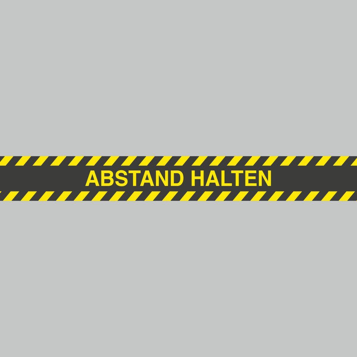 Fußbodenaufkleber, gelb-schwarz, Streifen, 120x15cm – Abstand halten