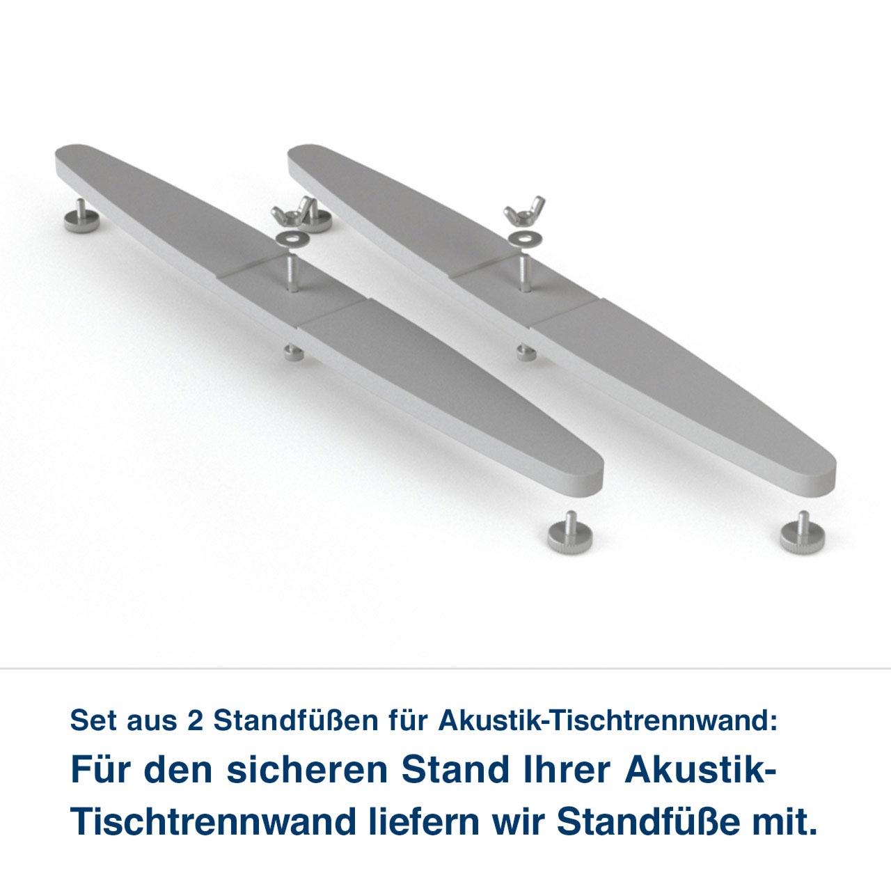 Set aus 2 Standfüßen für Akustik-Tischtrennwand:   Für den sicheren Stand Ihrer Akustik- Tischtrennwand liefern wir Standfüße mit. für