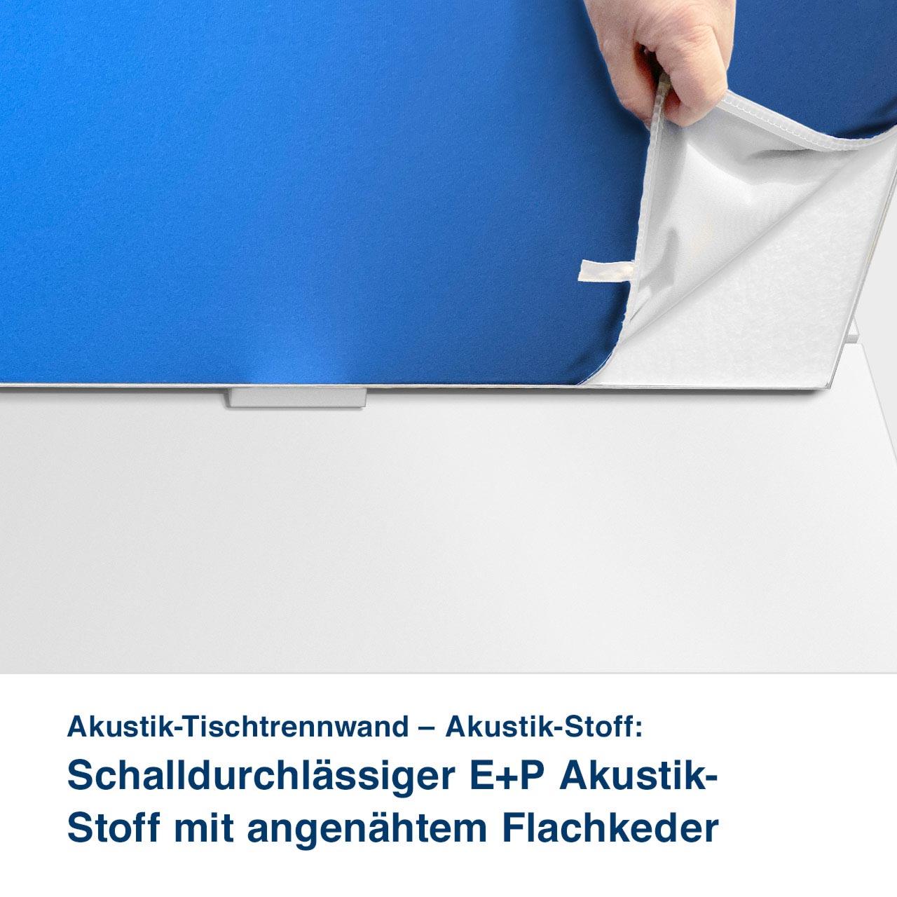 Akustik-Tischtrennwand – Akustik-Stoff:   Schalldurchlässiger E+P Akustik-  Stoff mit angenähtem Flachkeder