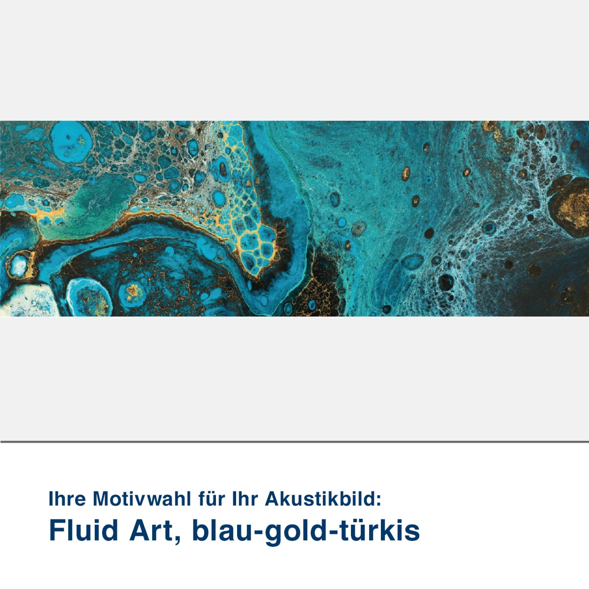 Akustikbild Motiv Fluid Art, blau-gold-türkis