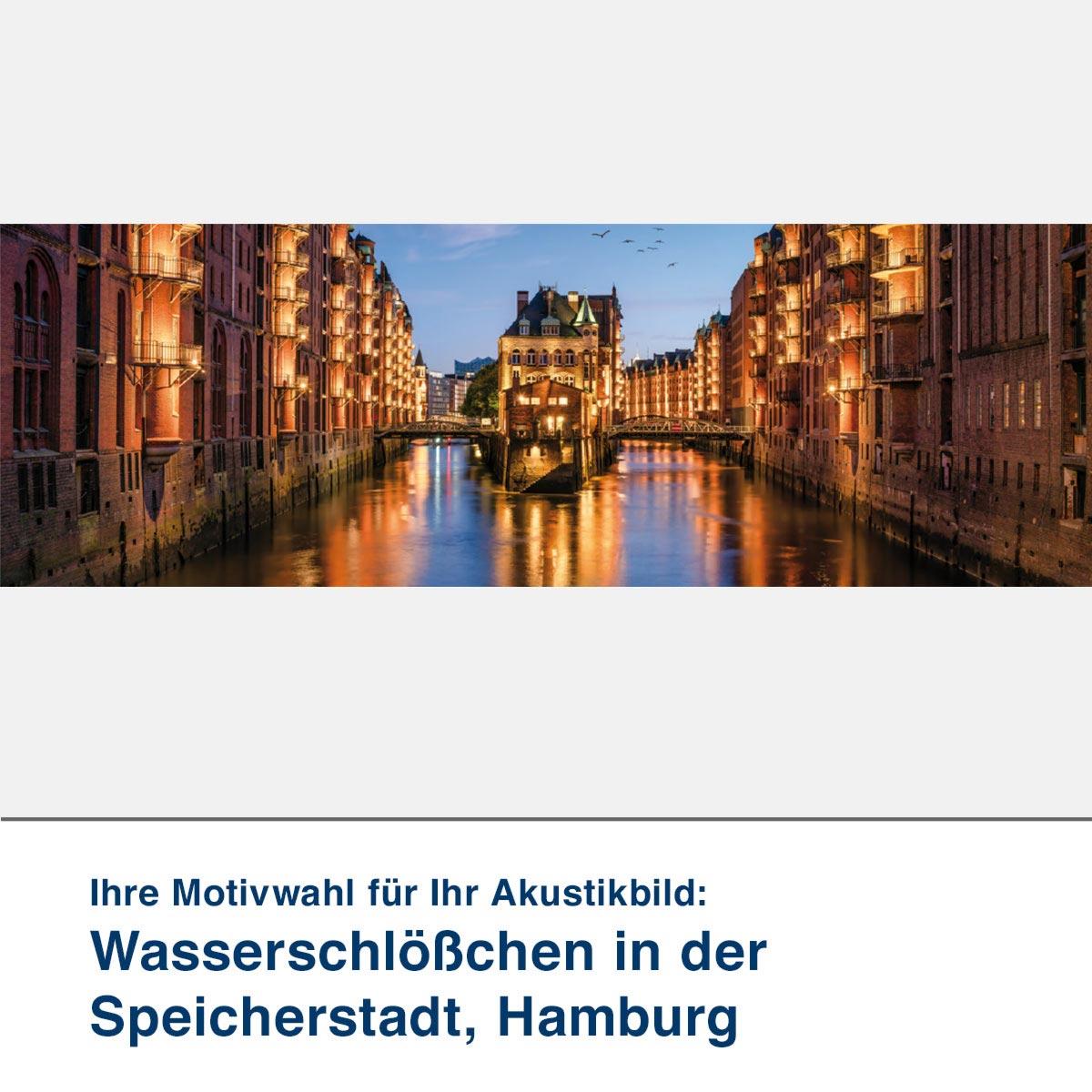 Akustikbild Motiv Wasserschlößchen in der Speicherstadt, Hamburg