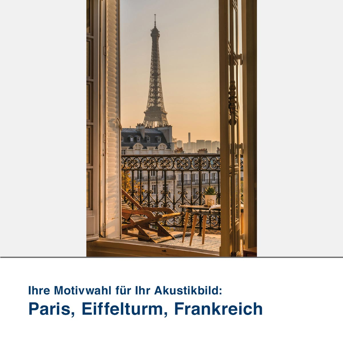 Akustikbild Motiv Paris, Eiffelturm, Frankreich
