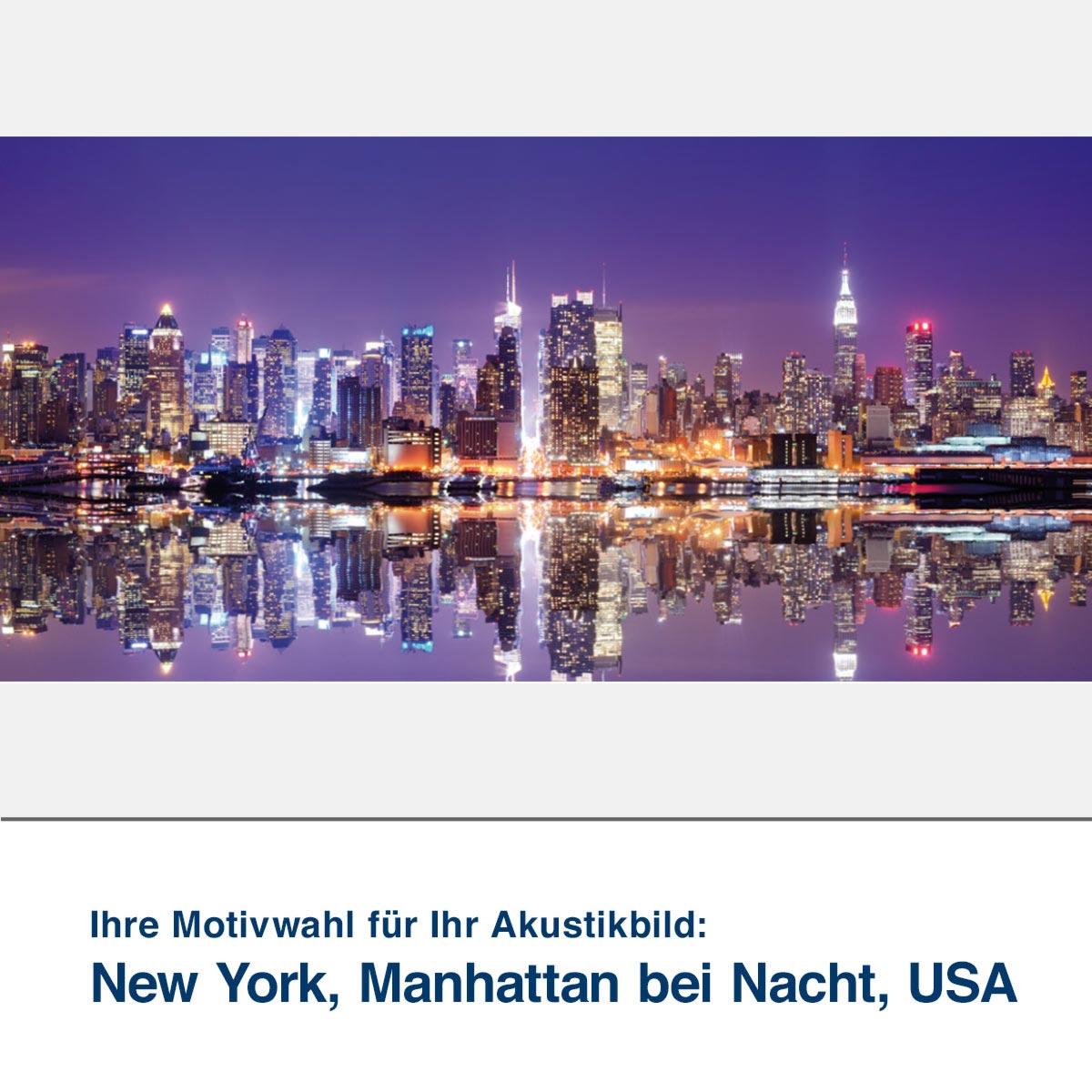Akustikbild Motiv New York, Manhattan bei Nacht, USA