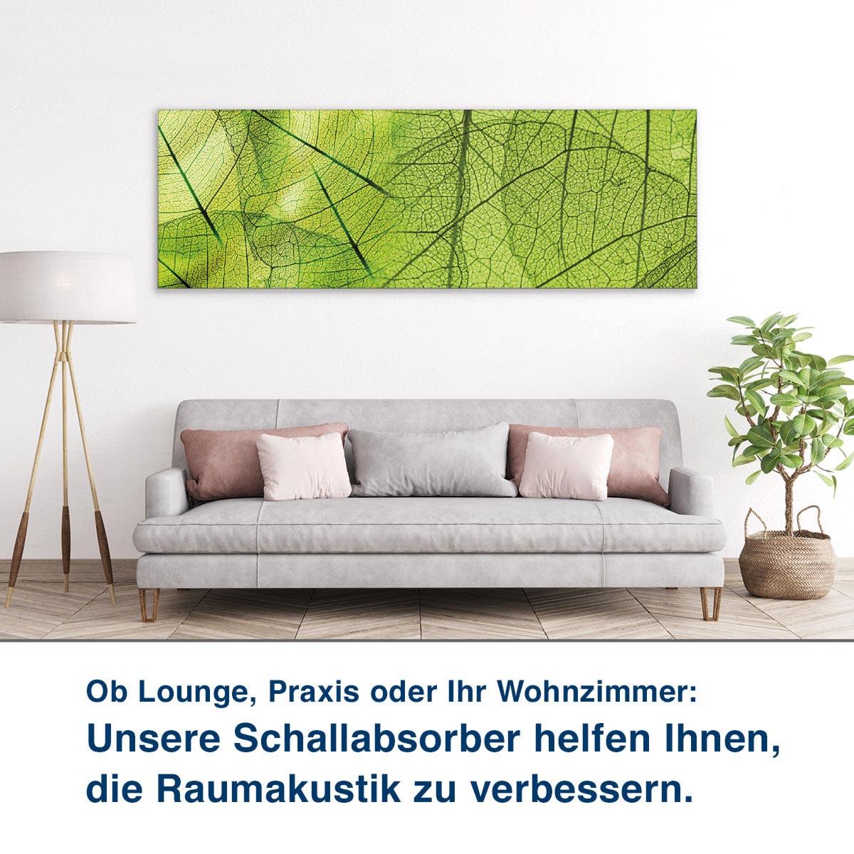 Ob Lounge, Praxis oder Ihr Wohnzimmer:  Unsere Schallabsorber helfen Ihnen,  die Raumakustik zu verbessern.