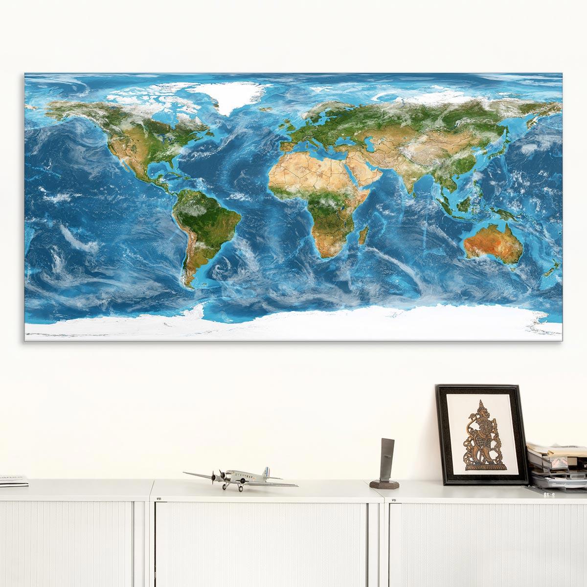 Akustikbild Weltkarte, einseitig, Wandmontage