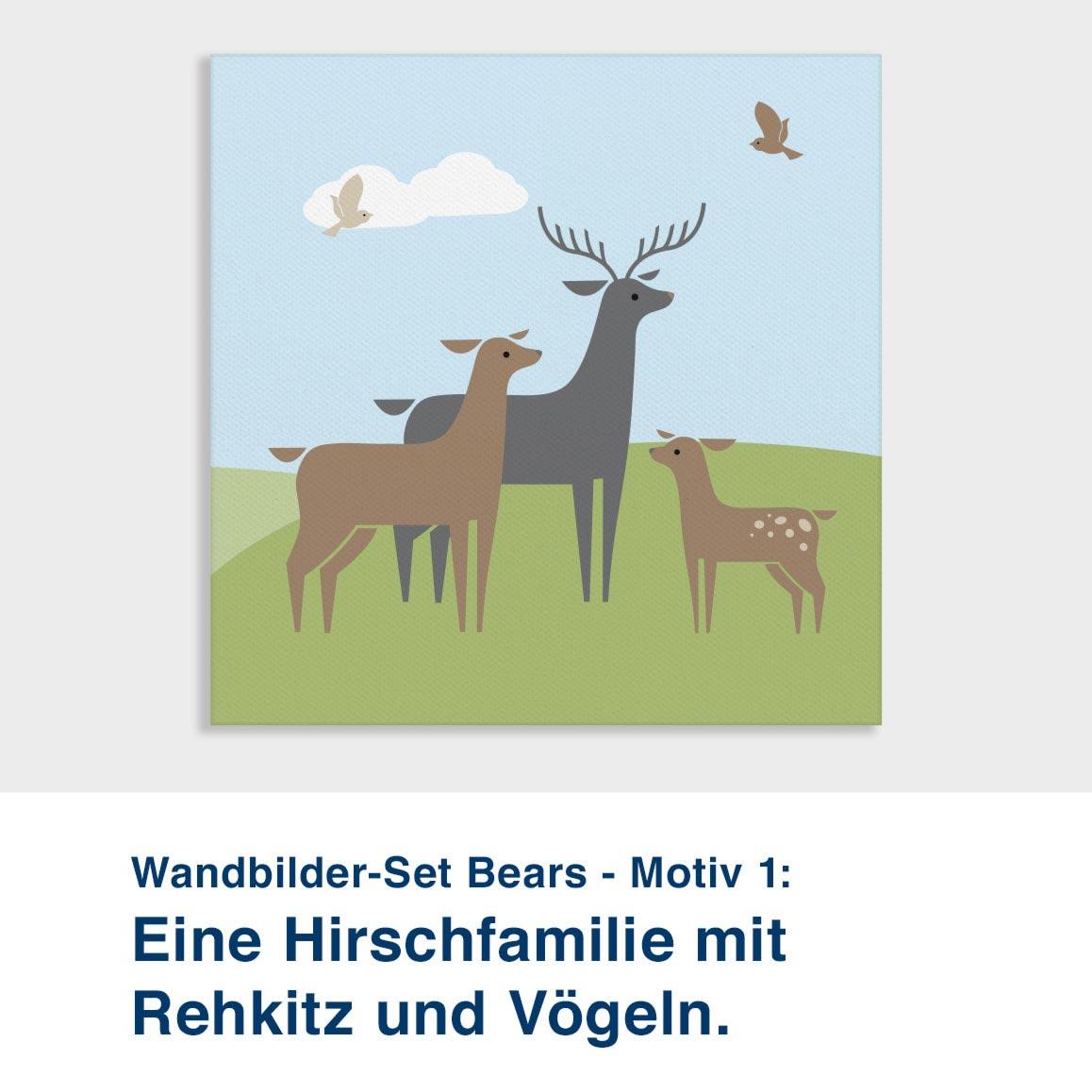 Wandbilder-Set Bears - Motiv 1:  Eine Hirschfamilie mit  Rehkitz und Vögeln.