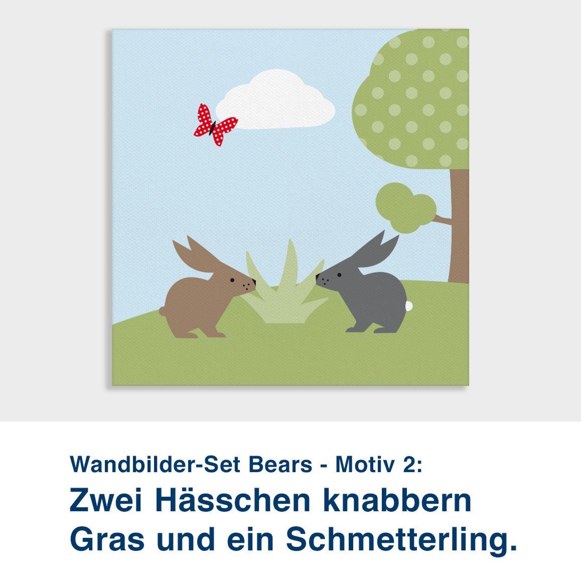 Wandbilder-Set Bears - Motiv 2:  Zwei Hässchen knabbern Gras und ein Schmetterling.
