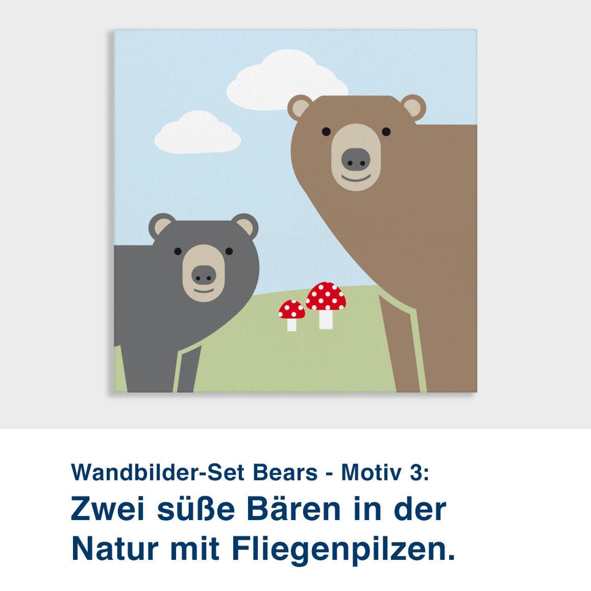 Wandbilder-Set Bears - Motiv 3:  Zwei süße Bären in der  Natur mit Fliegenpilzen.
