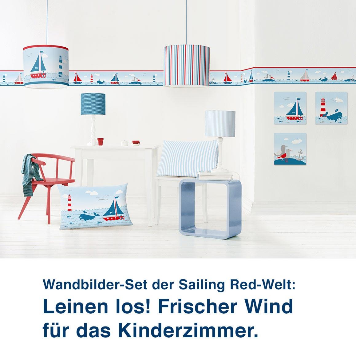 Wandbilder-Set im maritimen Design, Sailing Red