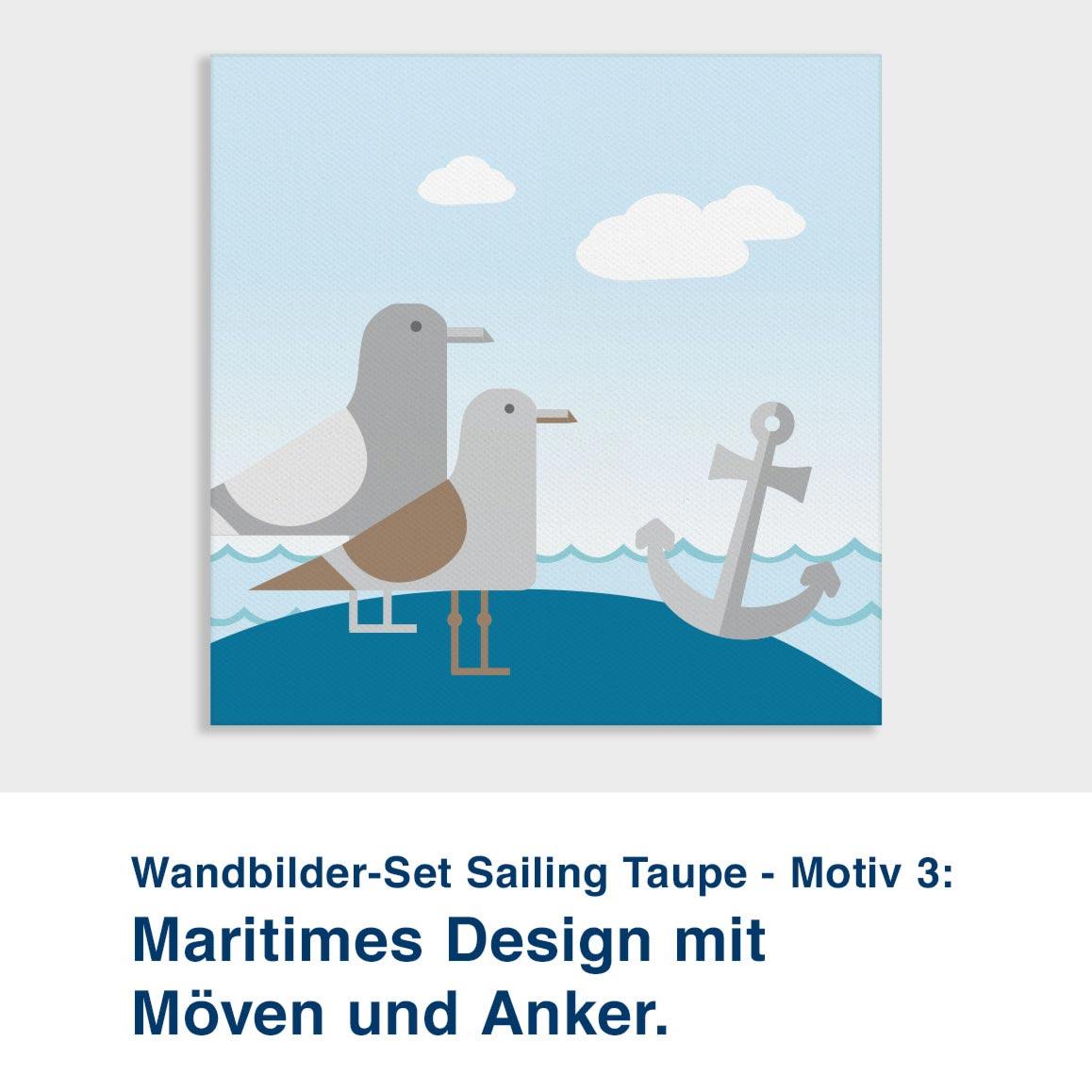 Wandbilder-Set Sailing Taupe - Motiv 3:  Maritimes Design mit  Möven und Anker.