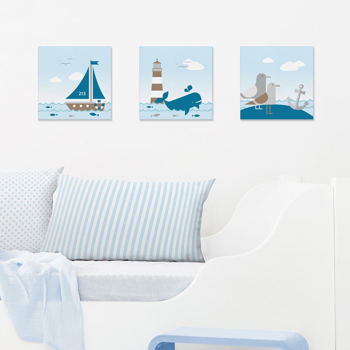 Bilder-Set im maritimen Design, Sailing Taupe