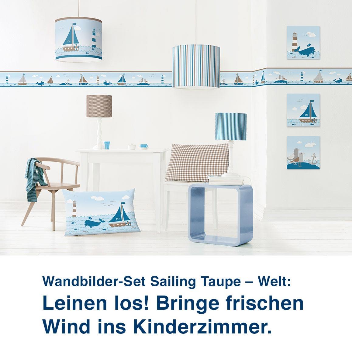 Wandbilder-Set Sailing Taupe – Welt:  Leinen los! Bringe frischen  Wind ins Kinderzimmer.