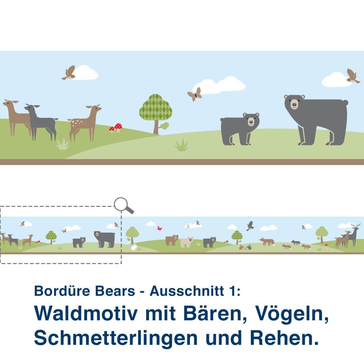 Bordüre Bears - Ausschnitt 1:   Waldmotiv mit Bären, Vögeln, Schmetterlingen und Rehen. den Bären viel zu entdecken.
