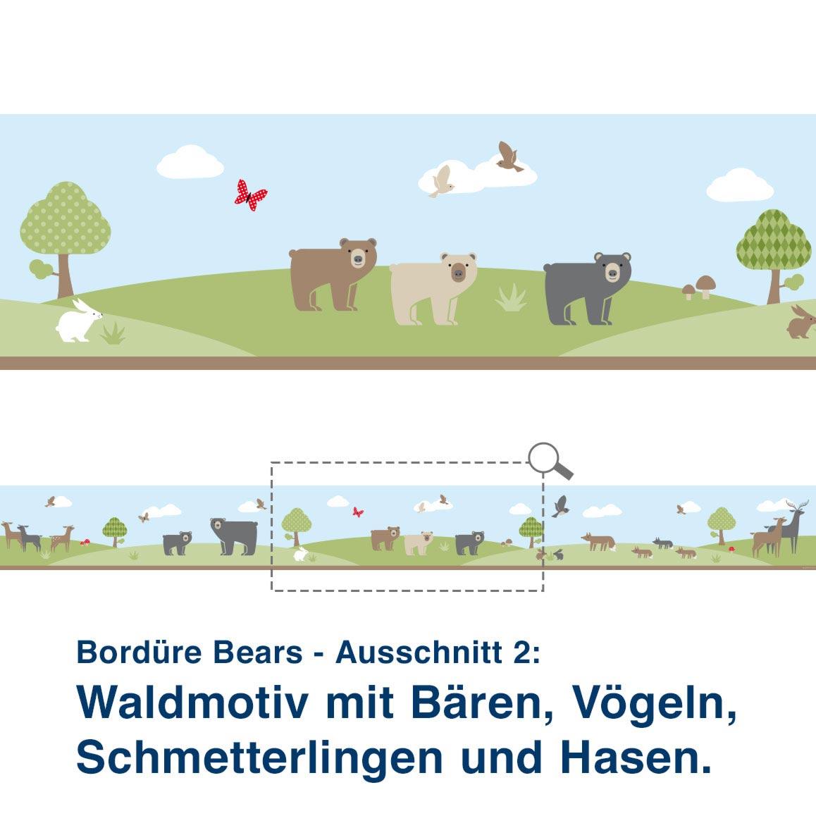 Bordüre Bears - Ausschnitt 2:   Waldmotiv mit Bären, Vögeln, Schmetterlingen und Hasen.