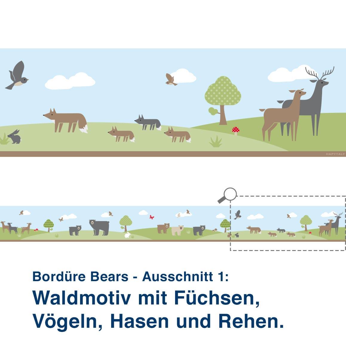 Bordüre Bears - Ausschnitt 1:   Waldmotiv mit Füchsen,  Vögeln, Hasen und Rehen.