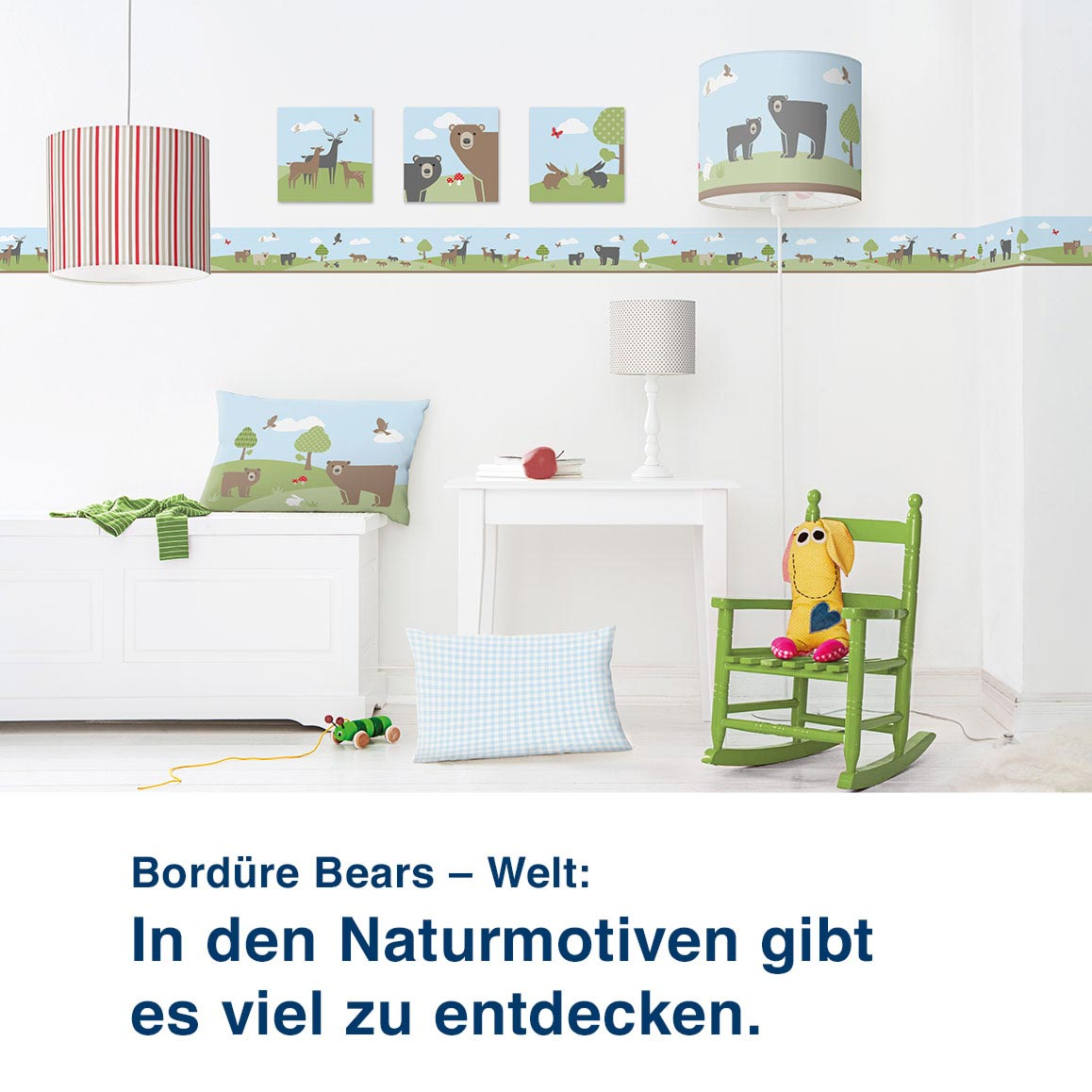 Bordüre Bears – Welt:  In den Naturmotiven gibt  es viel zu entdecken.