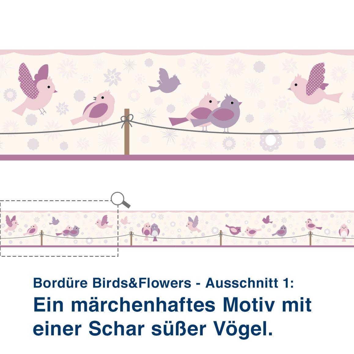 Bordüre Birds&Flowers - Ausschnitt 1:   Ein märchenhaftes Motiv mit  einer Schar süßer Vögel.